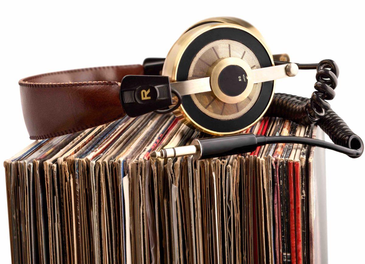 Headphones and vinyl records